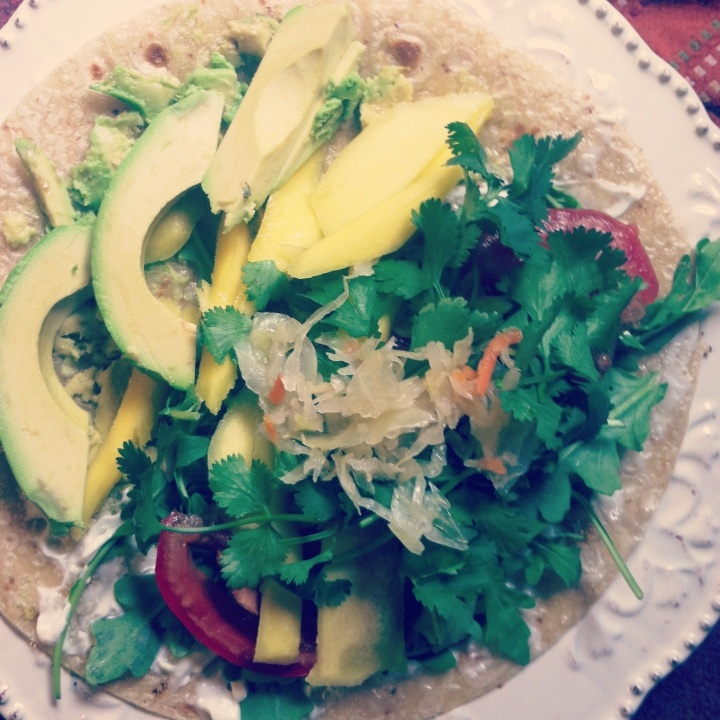 Fresh Mango Cilantro Quesadilla with Kimchi & Avocado