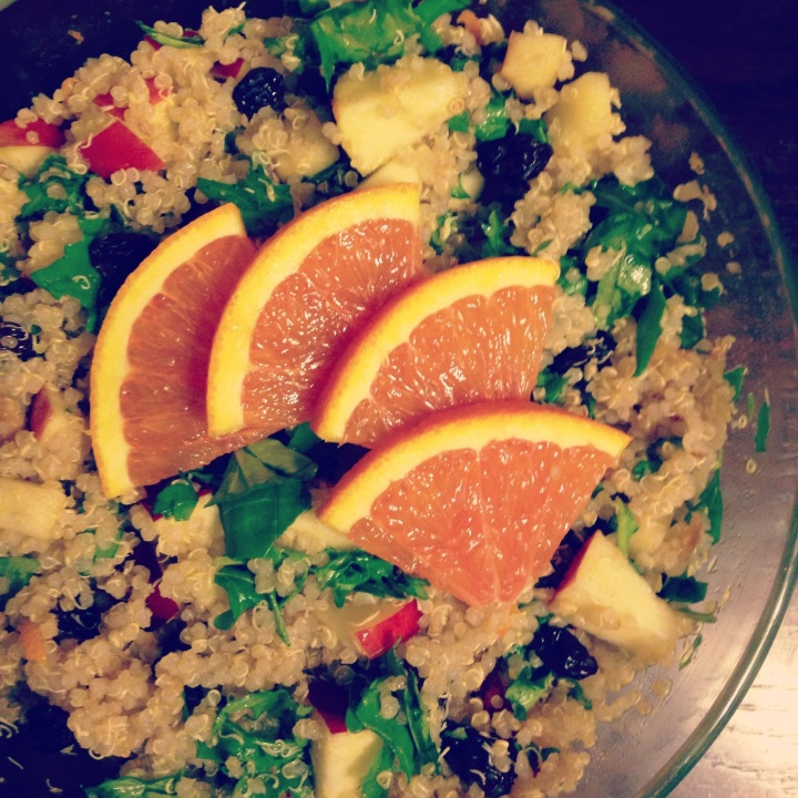 Citrus Apple Quinoa with Arugula and Raisins