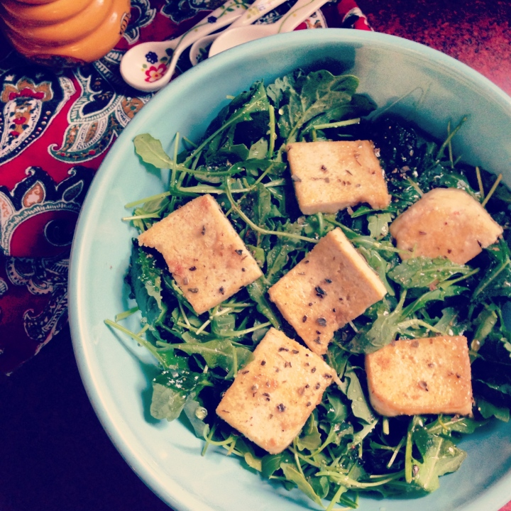 Sprouted Tofu Grilled in Coconut Butter over Kale and Arugula